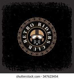 Vintage label with helmet and chain on grunge background for t-shirt print, poster, emblem. Vector illustration.