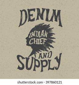 Vintage label with indian head.Typography design for t-shirts