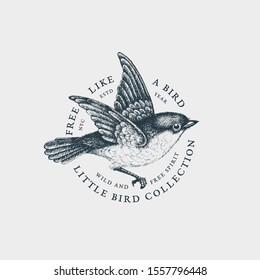 Vintage label with ink hand drawn flying bird. Vector illustration.