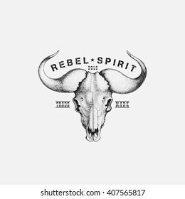 Vintage label with ink hand drawn sketch of buffalo skull. Vector illustration.
