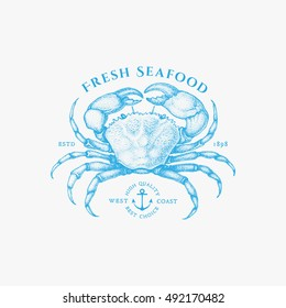 Vintage label with ink hand drawn sketch of crab. Vector illustration.