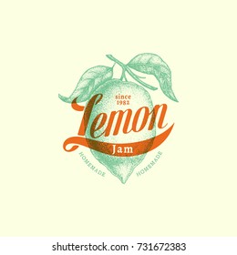 Vintage label with ink hand drawn sketch of lemon and handwritten word lemon. Vector illustration.