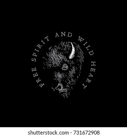 Vintage label with ink hand drawn sketch of a bison on a black background. Vector illustration.