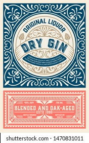 Vintage label for liquor design