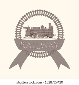 Vintage label / logo with retro locomotive train