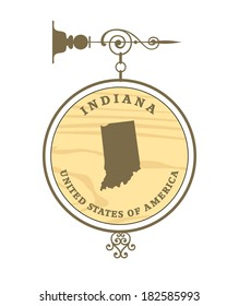 Vintage label with map of Indiana, vector