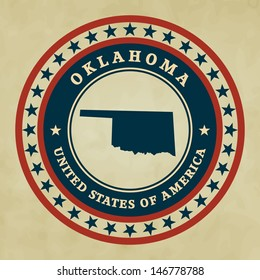 Vintage label with map of Oklahoma, vector