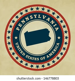 Vintage label with map of Pennsylvania, vector