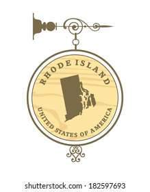 Vintage label with map of Rhode Island, vector
