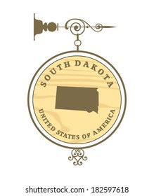 Vintage label with map of South Dakota, vector