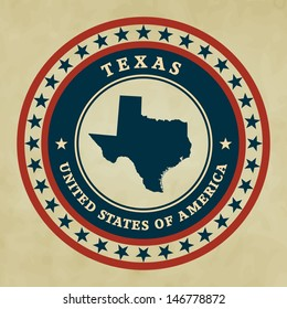 Vintage label with map of Texas, vector