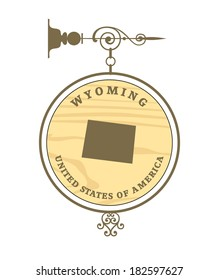 Vintage label with map of Wyoming, vector