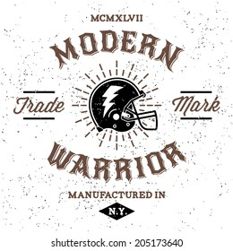 vintage label modern warrior (T-Shirt Print)