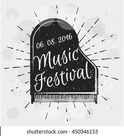 Vintage label music festival. Musical instrument piano. Vector illustration. Black grand piano top view. Music poster template.