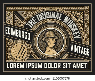 Vintage label for packing product. You can use it for other products such as Beer, Wine, Shop decoration. Vector illustration