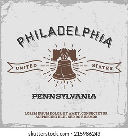 vintage label with Philadelphia logo ( T-Shirt Print )