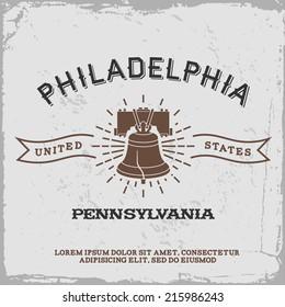 vintage label with Philadelphia logo ( T-Shirt Print )