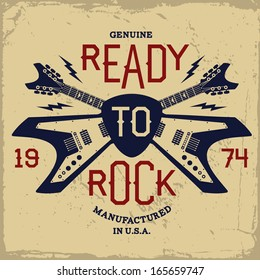 vintage label with ready to rock and guitar(T-Shirt Print)