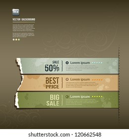 Vintage Label Ripped paper design horizontal background, vector illustration