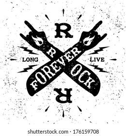 """vintage label """" rock forever"""""""