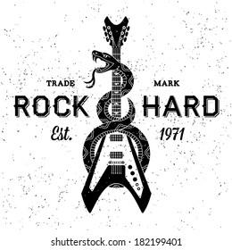 """vintage label """"rock hard"""" ( T-Shirt Print )"""