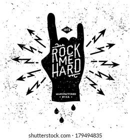 "vintage label ""rock me hard"" (T-Shirt Print)"
