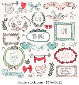 Vintage label set, Hand-drawn doodles and design elements, Ornate frames, banners and ribbons isolated in spring color. Romantic set of labels and ribbons