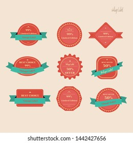 vintage label set.Vector design label red and blue ribbon.