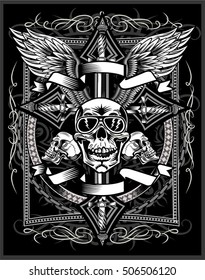 Vintage label. Skull and Ornate Christian Cross with dagger knife