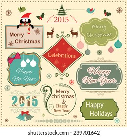 Vintage label, sticker or tag for Merry Christmas and Happy New Year 2015 celebration with ornament and beautiful typography.