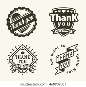 Vintage label Thank You text vector badge