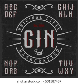 Vintage label typeface called 'Gin'l. Good font to use in any vintage labels or logo.