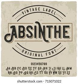 """Vintage label typeface named """"Absinthe"""". Good vintage font for any alcohol label design."""