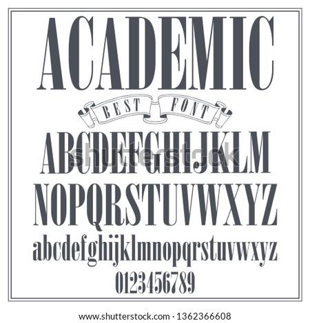 Vintage Label Typeface Named Academic Font Font Stock Vector