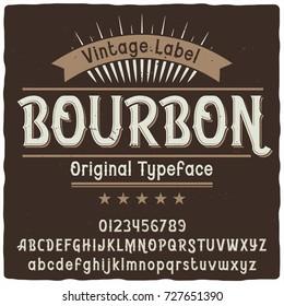 """Vintage label typeface named """"Bourbon"""". Good handcrafted font for any label design."""