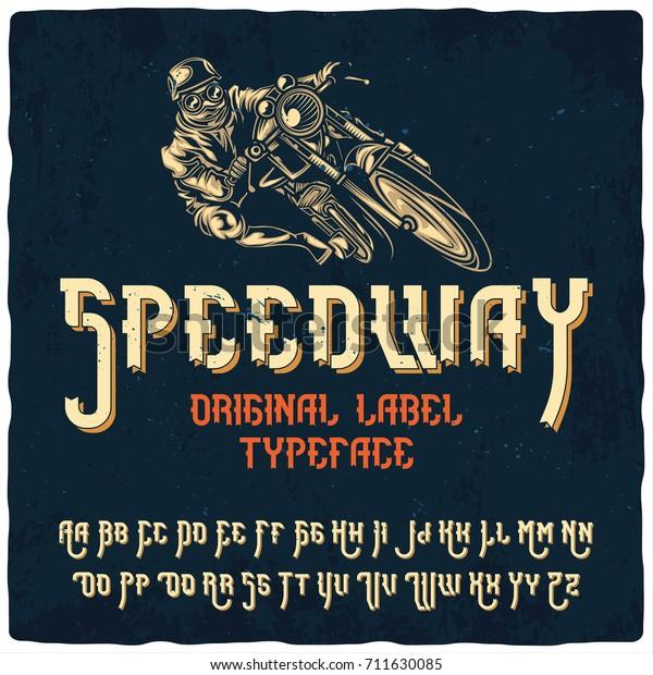 Vintage Label Typeface Named Speedway Good Stock Vector