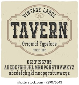"Vintage label typeface named ""Tavern"". Good handcrafted font for any label design."