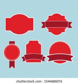 vintage label vector red colour
