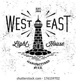"""vintage label """"west east lighthouse"""""""