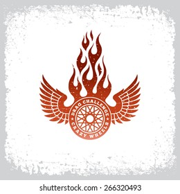Vintage label with wheel, wings and flame on grunge background for t-shirt print, poster, emblem. Vector illustration.