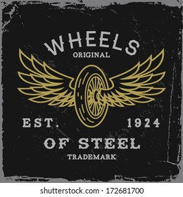 vintage label with wheel and wings(T-Shirt Print)