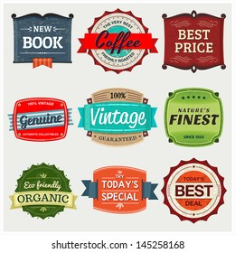 Vintage Labels. A collection of 9 vintage labels, perfect to showcase and promote your products.