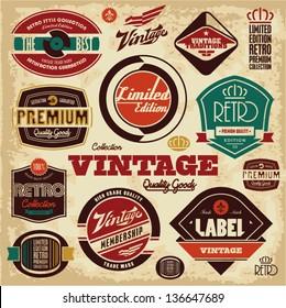 Vintage labels collection. Retro design elements.