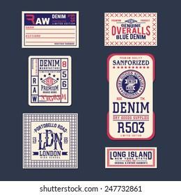 Vintage Labels denim typography, t-shirt, vectors, carton, emblems set