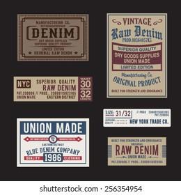Vintage labels denim typography, t-shirt graphics, vectors