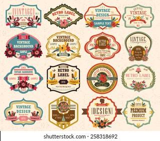 vintage labels with flower 2