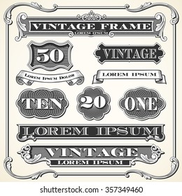 Vintage Labels, Frames and Ornaments - Set of vintage ornaments and frames.  Each object is grouped and colors are global for easy editing.