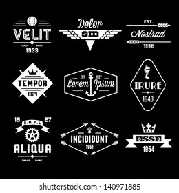vintage labels with globe, crown, arrow, gear
