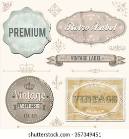 Vintage labels and ornaments - Retro labels and ornaments with grunge textures.  Colors are global, and textures can be removed.