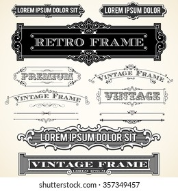 Vintage Labels and Ornaments - Set of vector ornaments and frames.  Each object is grouped and colors are global for easy editing.